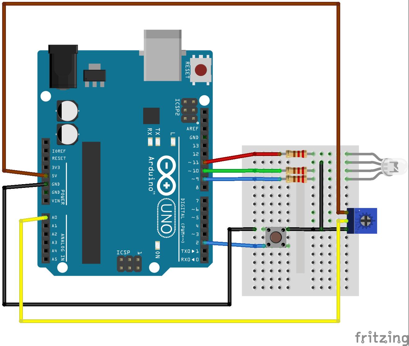 Bedrading schema Arduino en Breadbard